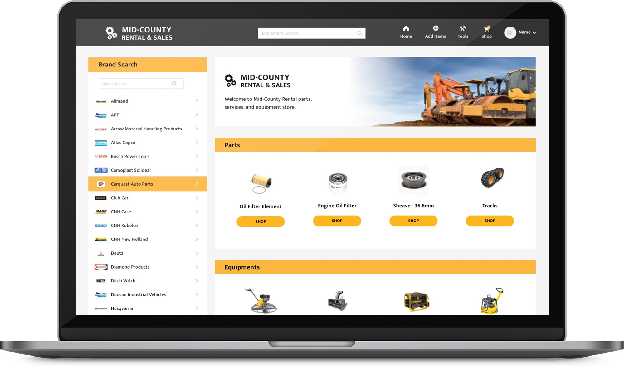 e-Commerce Store laptop screenshot