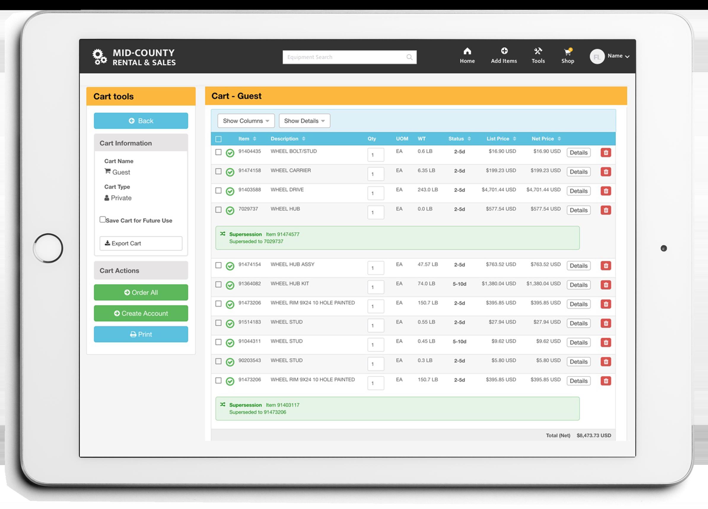 e-Commerce Store tablet screenshot